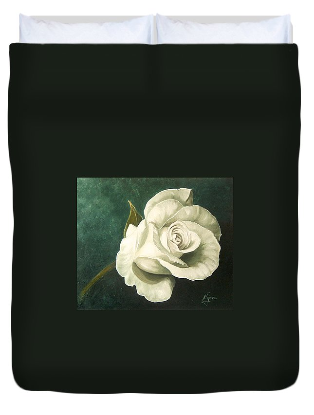 Rose Flower Still Life White Duvet Cover featuring the painting Tea Rose by Natalia Tejera