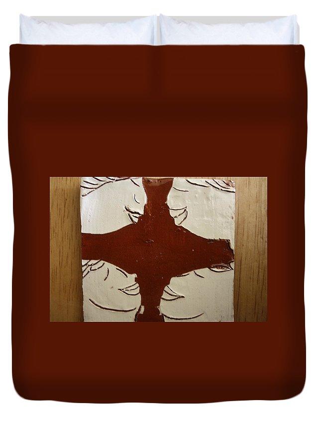 Jesus Duvet Cover featuring the ceramic art Tea Time - Tile by Gloria Ssali