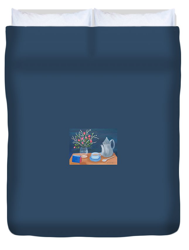 Still Life Duvet Cover featuring the painting Tea Time by Ruth Housley
