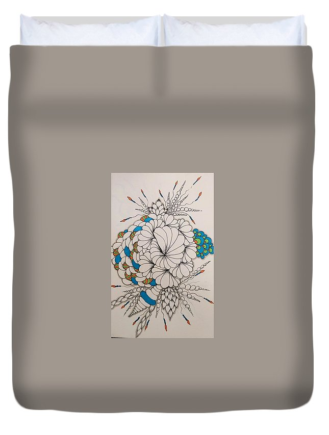 Teal Duvet Cover featuring the drawing Teal by Darla Richardson