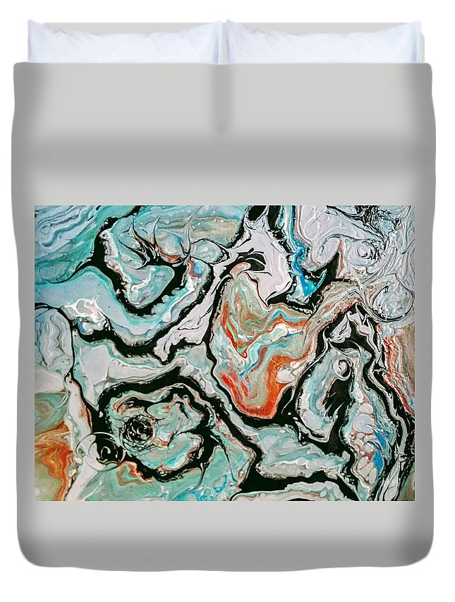 Teal Duvet Cover featuring the painting Teal by Valerie Josi
