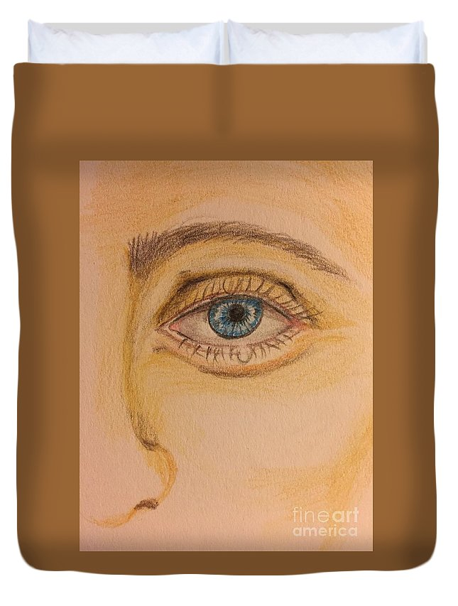 Color Pencil Drawing Duvet Cover featuring the painting Tear Drop by Brindha Naveen