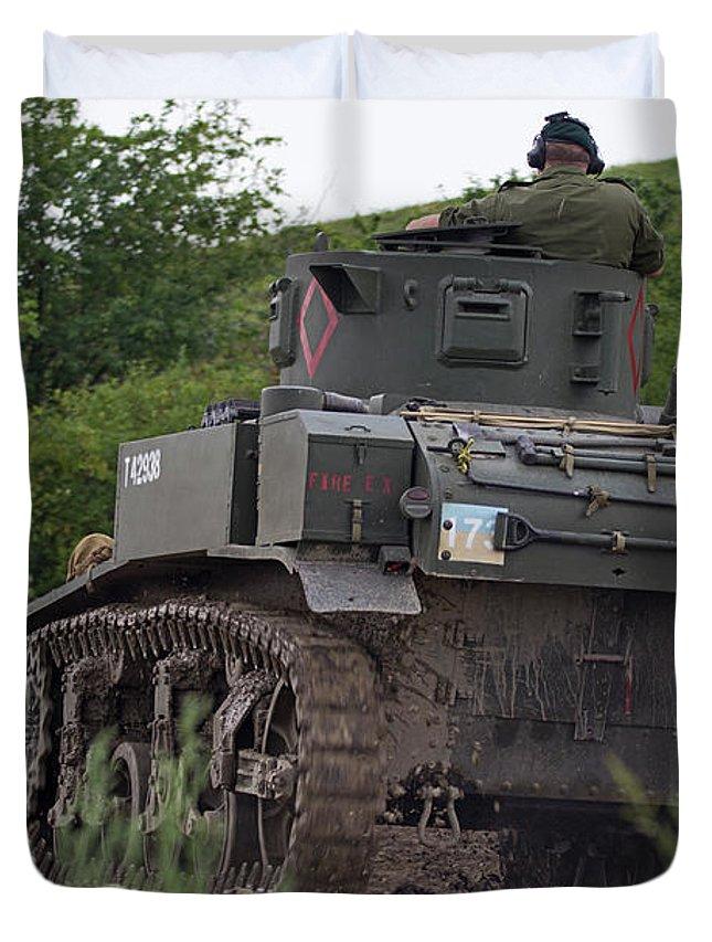 War Duvet Cover featuring the photograph Tearing It Up - M3 Stuart Light Tank by Spencer Bush