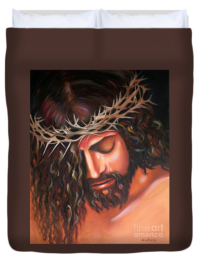 Crown Of Thorns Duvet Cover featuring the painting Tears From The Crown Of Thorns by Lora Duguay