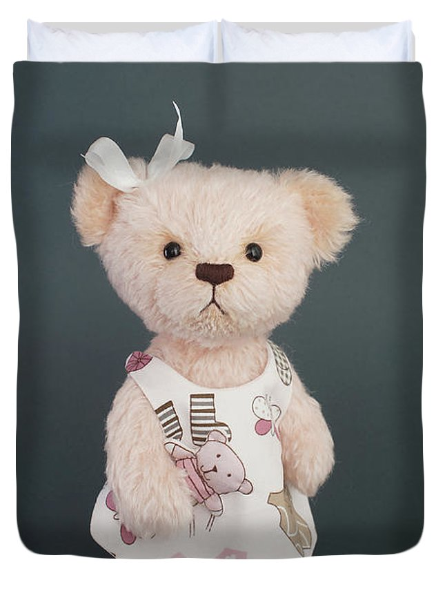 teddy bear in dress with a bird in the hand duvet cover. Black Bedroom Furniture Sets. Home Design Ideas