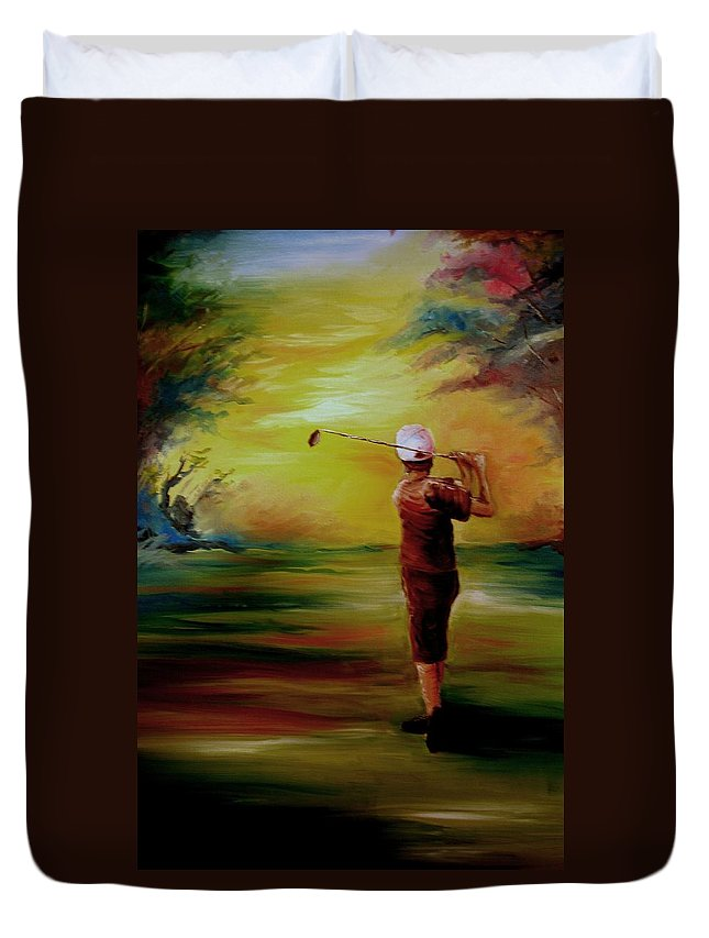 Golf Duvet Cover featuring the painting Tee Off by Melissa Wiater Chaney