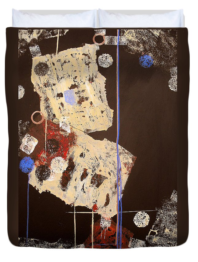 Abstract Duvet Cover featuring the painting Teeter by Ruth Palmer