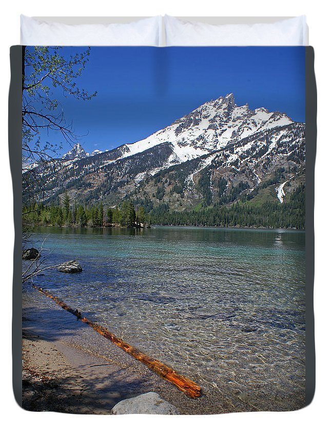 Grand Tetons Duvet Cover featuring the photograph Teewinot by Heather Coen