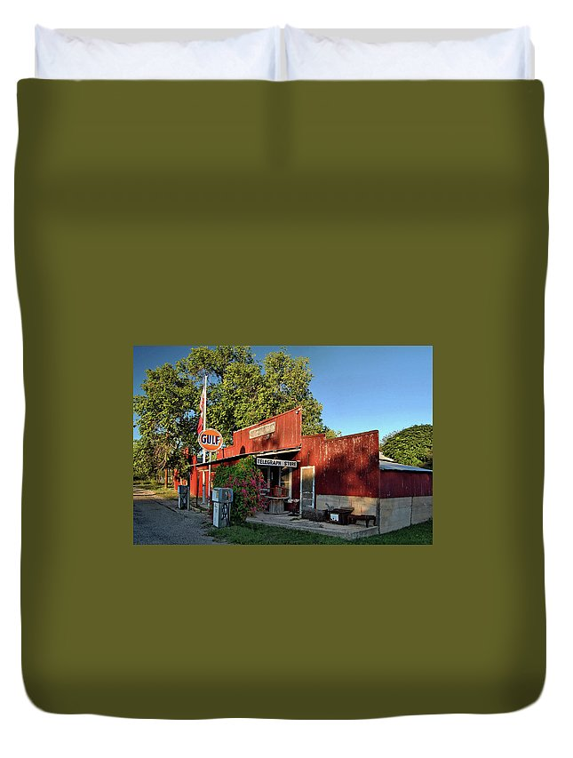Telegraph Store Duvet Cover featuring the photograph Telegraph Store by Ben Prepelka
