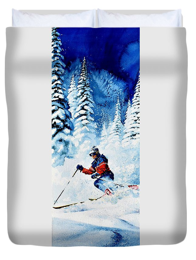Skier Duvet Cover featuring the painting Telemark Trails by Hanne Lore Koehler