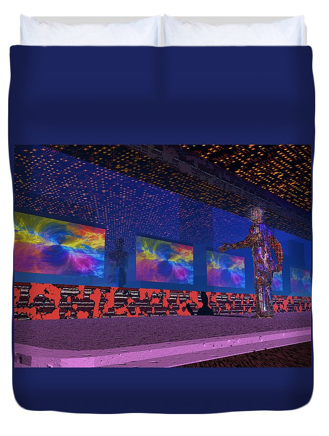 Television Duvet Cover featuring the photograph Television World by Mark Blauhoefer