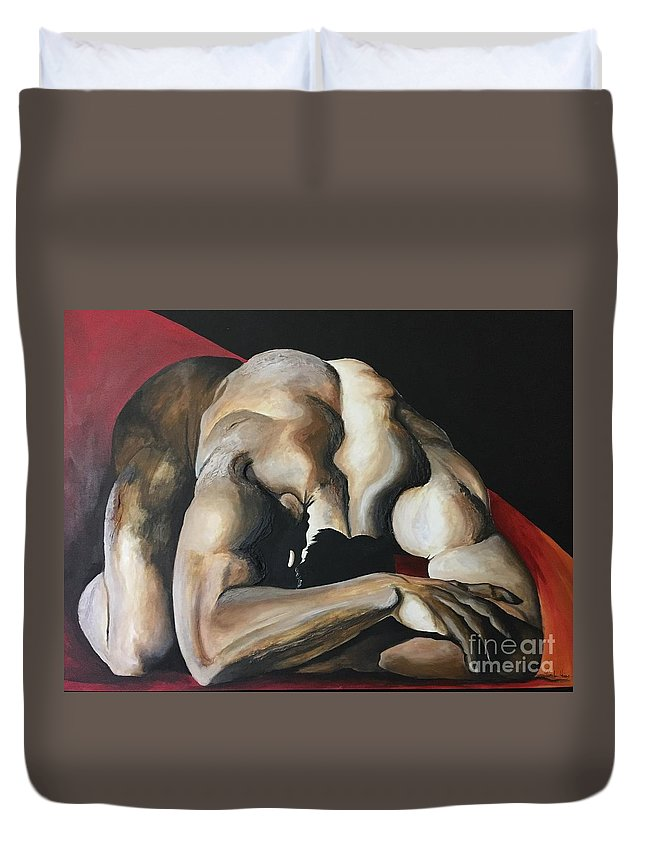 Man Duvet Cover featuring the painting Tell Me The Reason Why by Pamela Henry