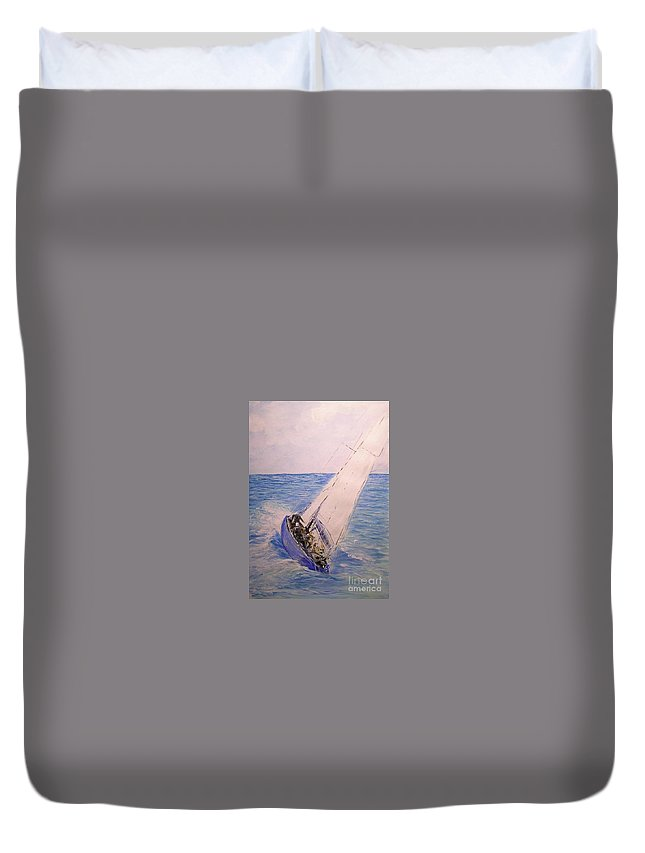 Seascape Duvet Cover featuring the painting Tell Tails In The Wind by Lizzy Forrester