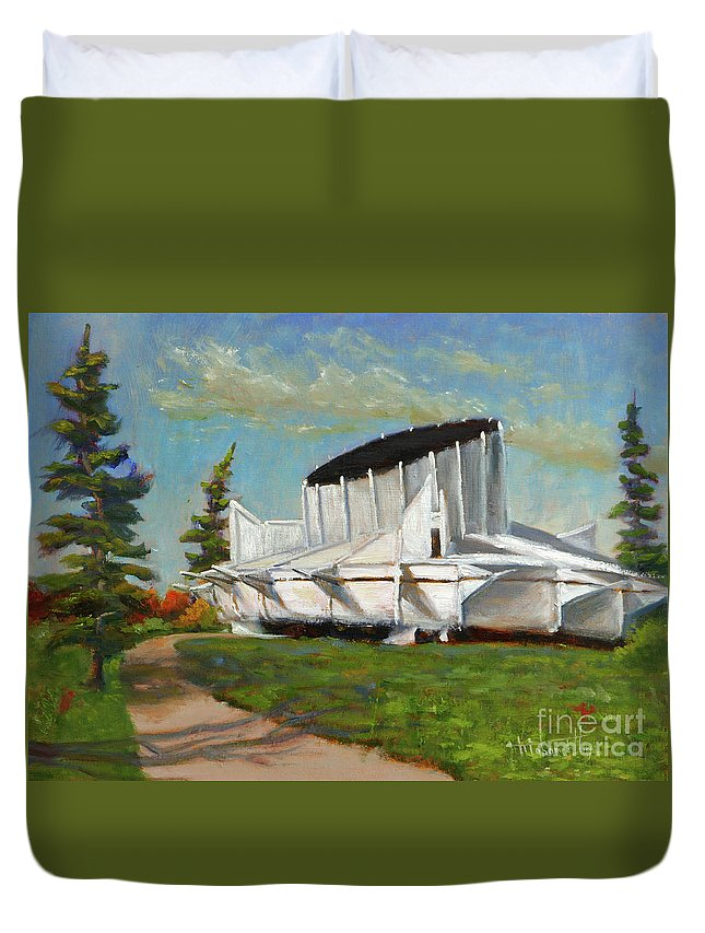 Science Duvet Cover featuring the painting Telus World Of Science by Mohamed Hirji