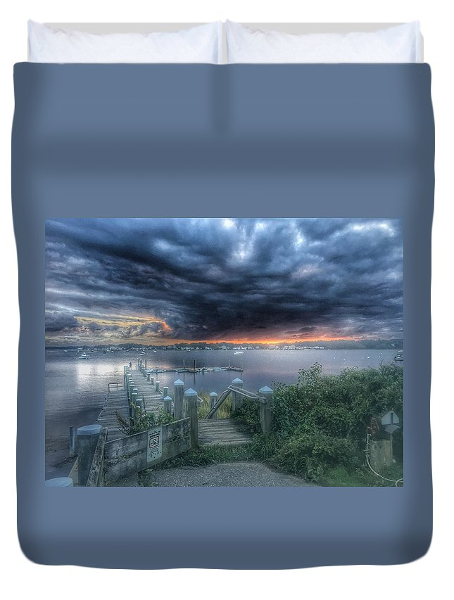Duvet Cover featuring the photograph Tempest Knob 9-30-17 by Phillip Damiano