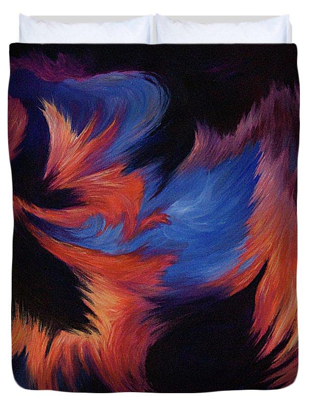 Abstract Duvet Cover featuring the painting Tempest by Rachel Christine Nowicki