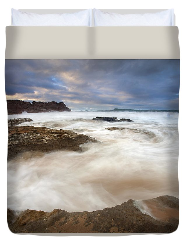 Bowl Duvet Cover featuring the photograph Tempestuous Sea by Mike Dawson