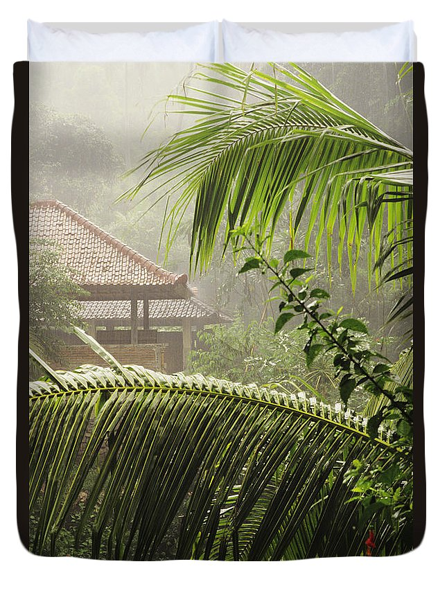 Architecture Duvet Cover featuring the photograph Temple At Tchampuan by William Waterfall - Printscapes