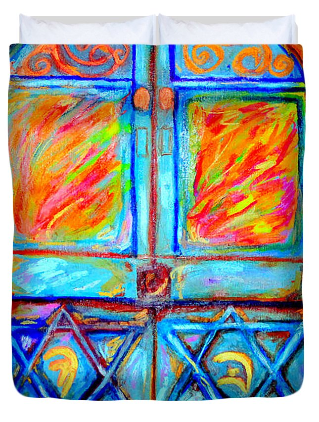 Judaica Duvet Cover featuring the painting Temple Door by Debbie Davidsohn