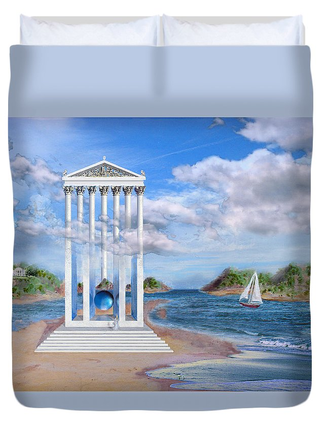 Landscape Duvet Cover featuring the painting Temple For No One by Steve Karol