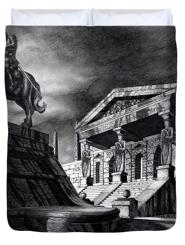 Greek Architecture Duvet Cover featuring the drawing Temple Of Perseus by Curtiss Shaffer