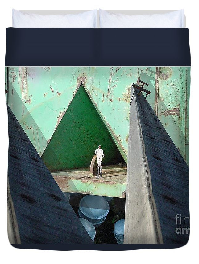 Abstract Duvet Cover featuring the digital art Temple by Ron Bissett