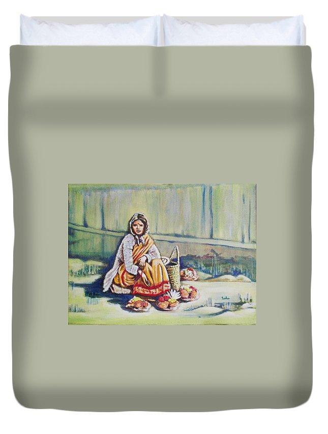 Usha Duvet Cover featuring the painting Temple-side Vendor by Usha Shantharam