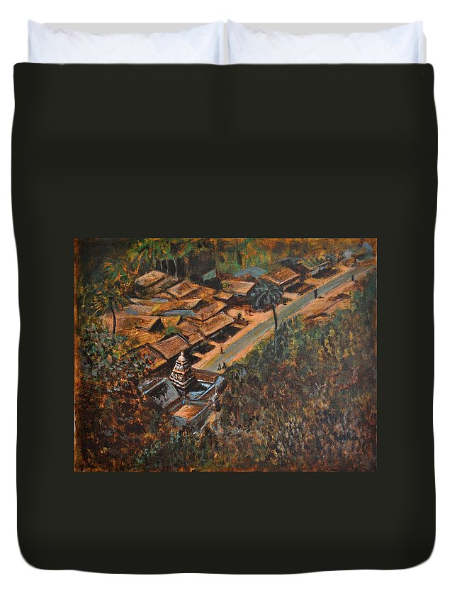 Temple Duvet Cover featuring the painting Temple Town by Usha Shantharam