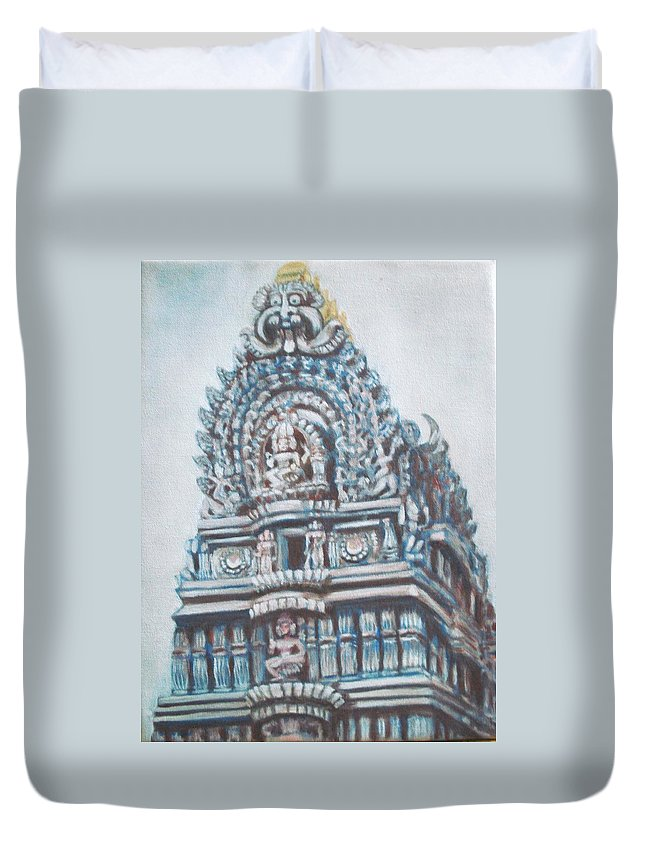 Temple Duvet Cover featuring the painting Temple by Usha Shantharam