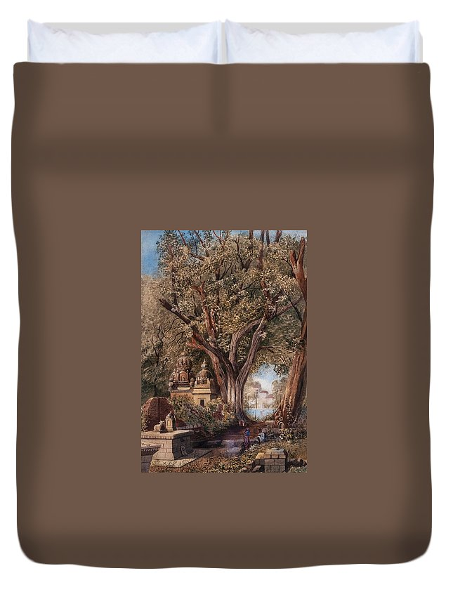 Julius Middleton Boyd () Temples And Burial Ground Near Poona Duvet Cover featuring the painting Temples And Burial Ground Near Poona by MotionAge Designs