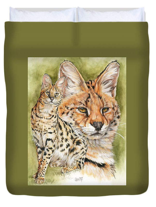 Serval Duvet Cover featuring the mixed media Tempo by Barbara Keith