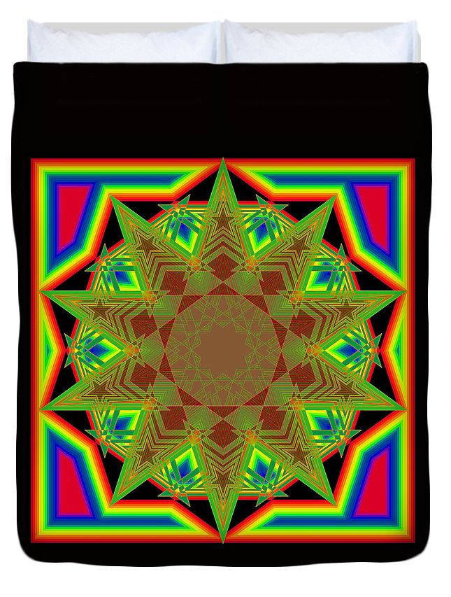 Mandala--shapes And Colors Duvet Cover featuring the digital art Ten Fives by Gerald Brewster