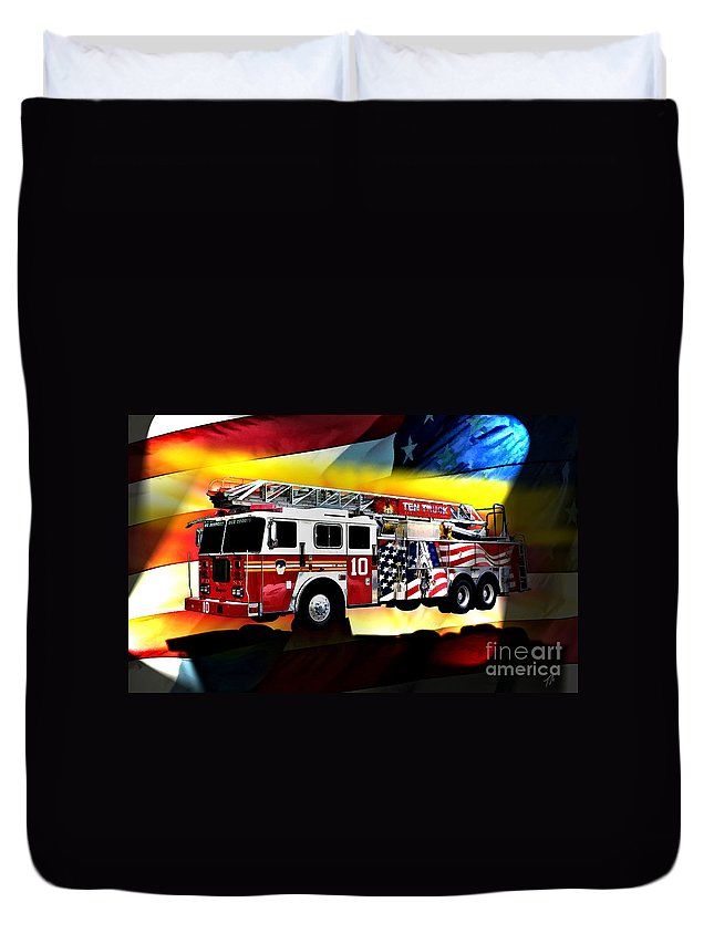 Seagrave Duvet Cover featuring the digital art Ten Truck Fdny by Tommy Anderson