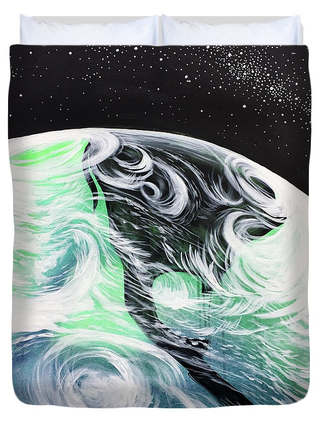 Space Duvet Cover featuring the painting Tenaciously Mindful by Nathan Rhoads