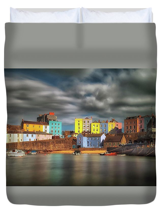 Tenby Duvet Cover featuring the photograph Tenby Harbour Pembrokeshire by Leighton Collins