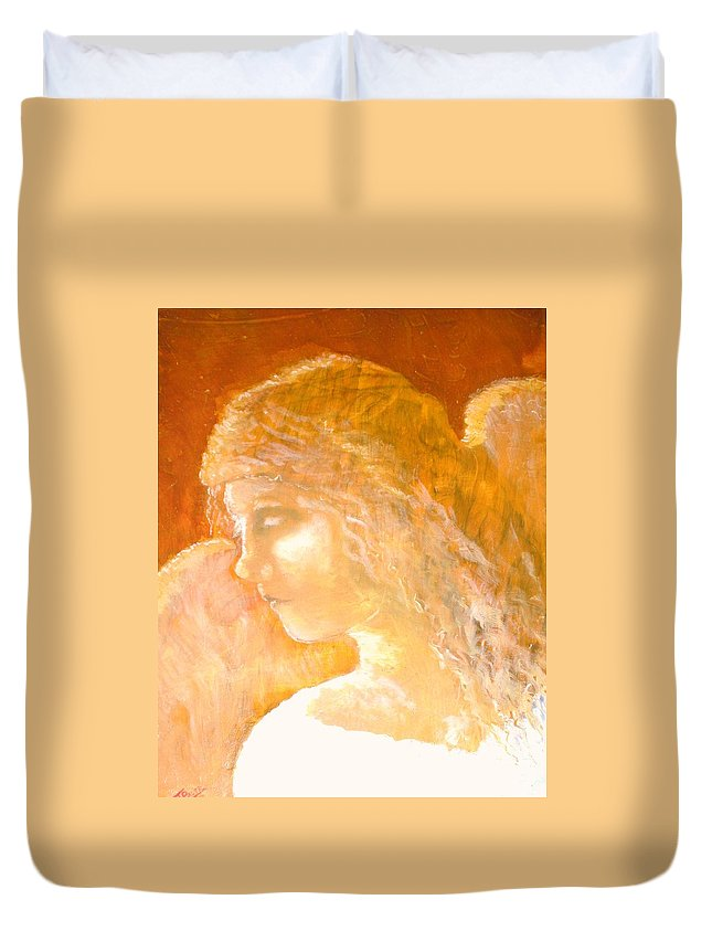 Angel Duvet Cover featuring the painting Tender Mercy by J Bauer