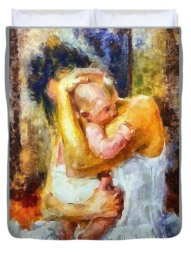 Motherhood Duvet Cover featuring the painting Tender Moment by Dragica Micki Fortuna