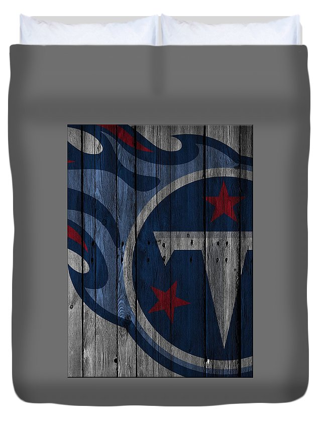 Titans Duvet Cover featuring the photograph Tennessee Titans Wood Fence by Joe Hamilton