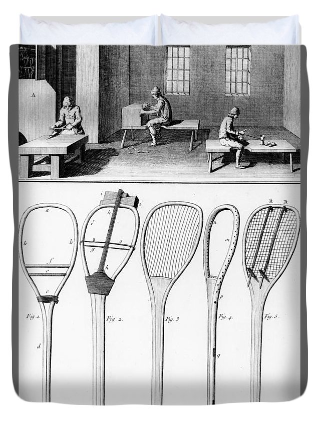 Tennis Duvet Cover featuring the drawing Tennis Rackets by French School
