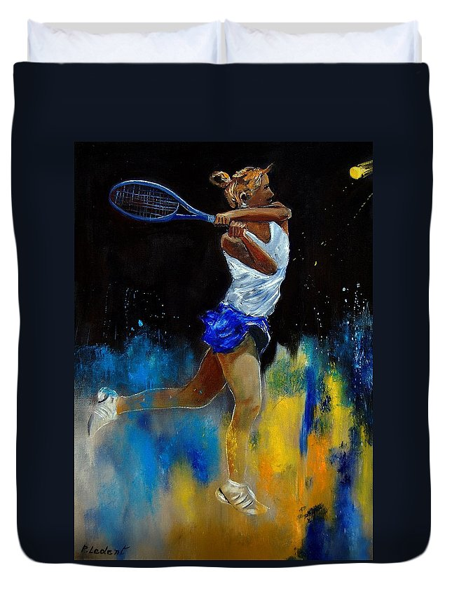 Sports Duvet Cover featuring the painting Tenniswoman 57 by Pol Ledent