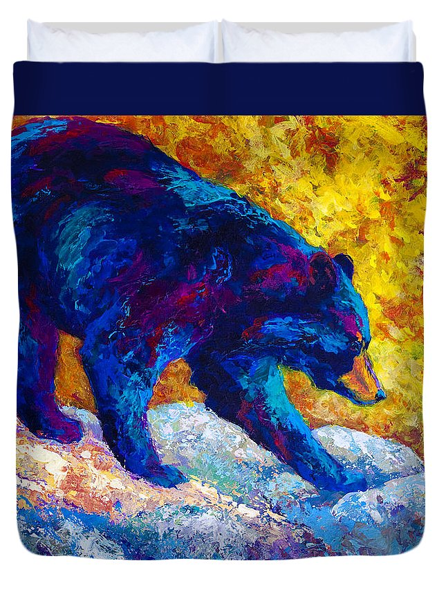 Bear Duvet Cover featuring the painting Tentative Step - Black Bear by Marion Rose