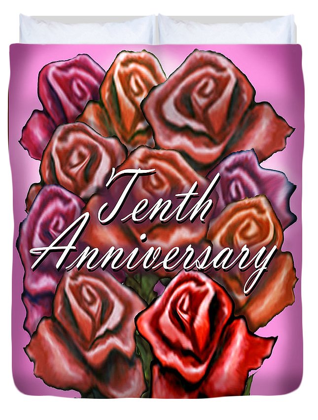 Tenth Duvet Cover featuring the greeting card Tenth Anniversary by Kevin Middleton