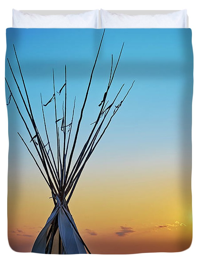 7th Ranch Rv Camp Duvet Cover featuring the photograph Tepee At Sunset by Matt Suess