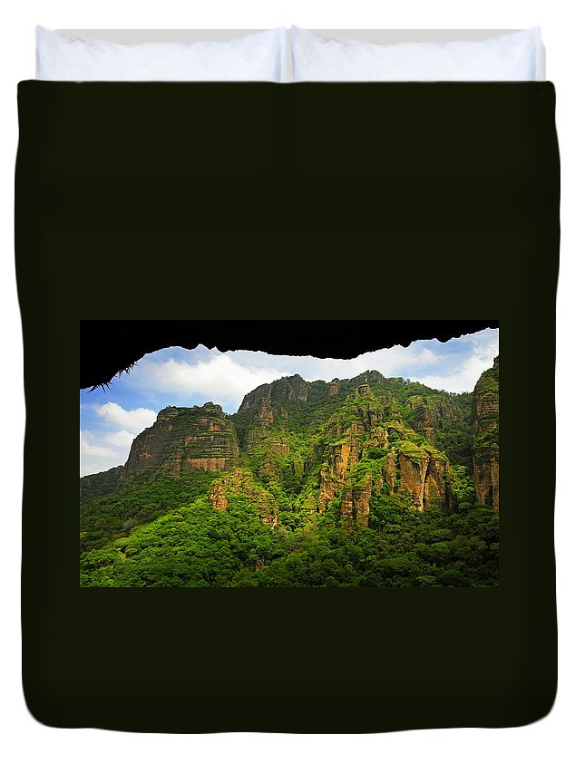Skip Hunt Duvet Cover featuring the photograph Tepozteco by Skip Hunt