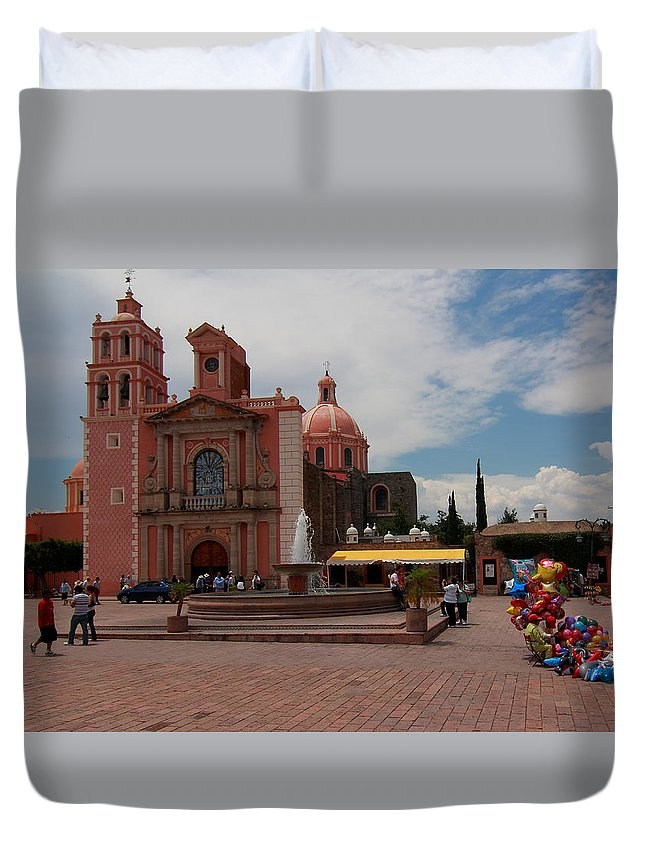 Cathedral Duvet Cover featuring the photograph Tequisqueapan Main Catherdral, Mexico by Robert McKinstry
