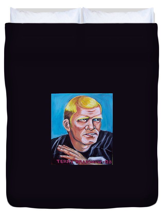 Terry Bradshaw Duvet Cover featuring the painting Terry Badshaw Rookie by Kevin Stonebraker