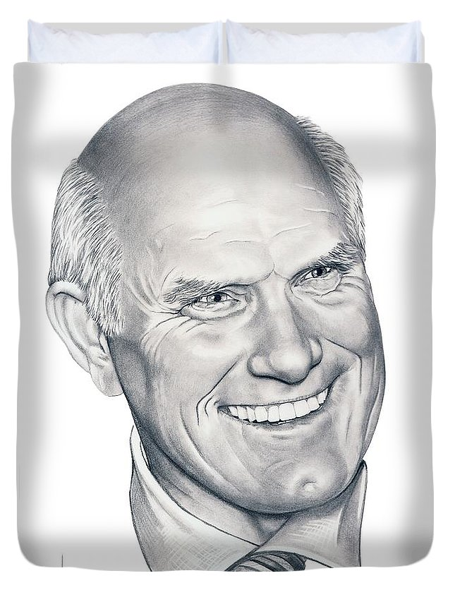 Terry Bradshaw Duvet Cover featuring the drawing Terry Bradshaw-murphy Elliott by Murphy Elliott