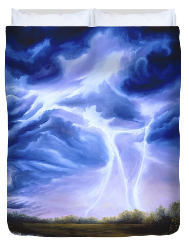 Marsh Duvet Cover featuring the painting Tesla by James Christopher Hill