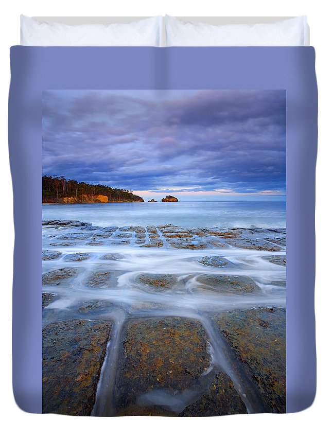 Sunset Duvet Cover featuring the photograph Tesselated Sunset by Mike Dawson