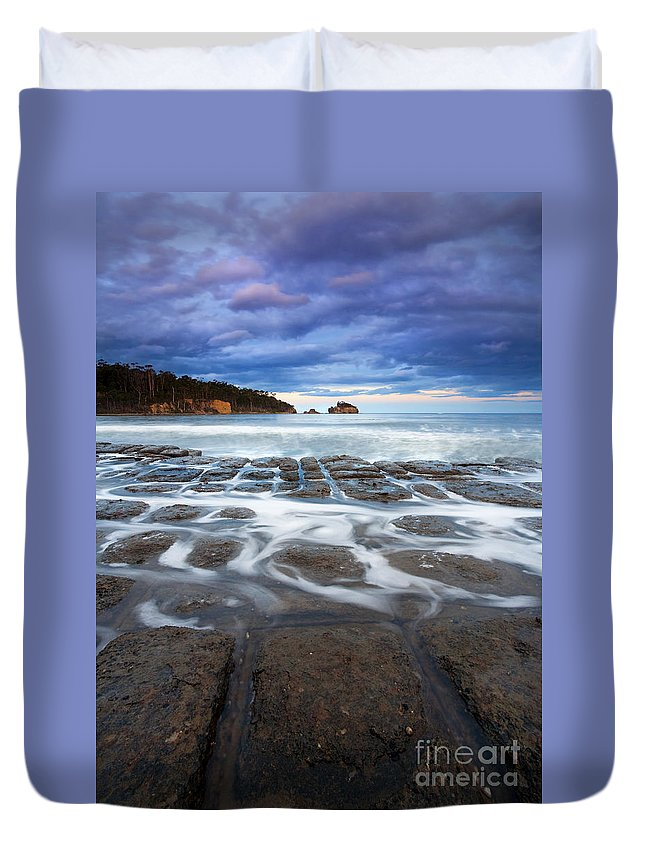 Tessellated Duvet Cover featuring the photograph Tessellated Flow by Mike Dawson